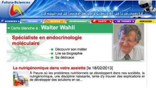 Prof Wahli's profile as an author is now on Futura-Sciences